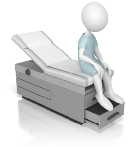 Unsuspecting patient sitting on exam table