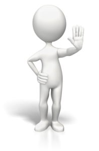"figure with hand up indicating ""no"""