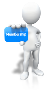 figure holding a blue membership card