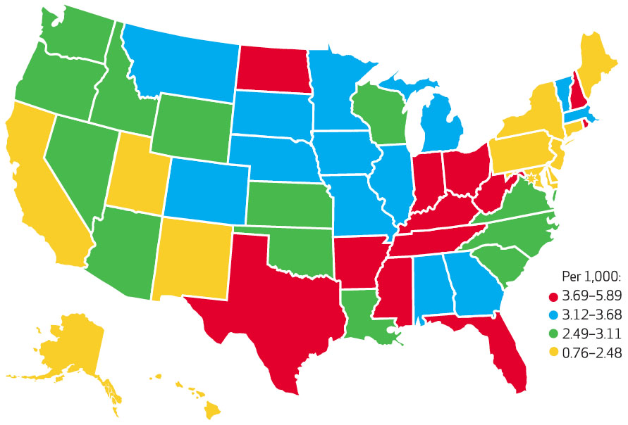US map of hospital observation stays by state