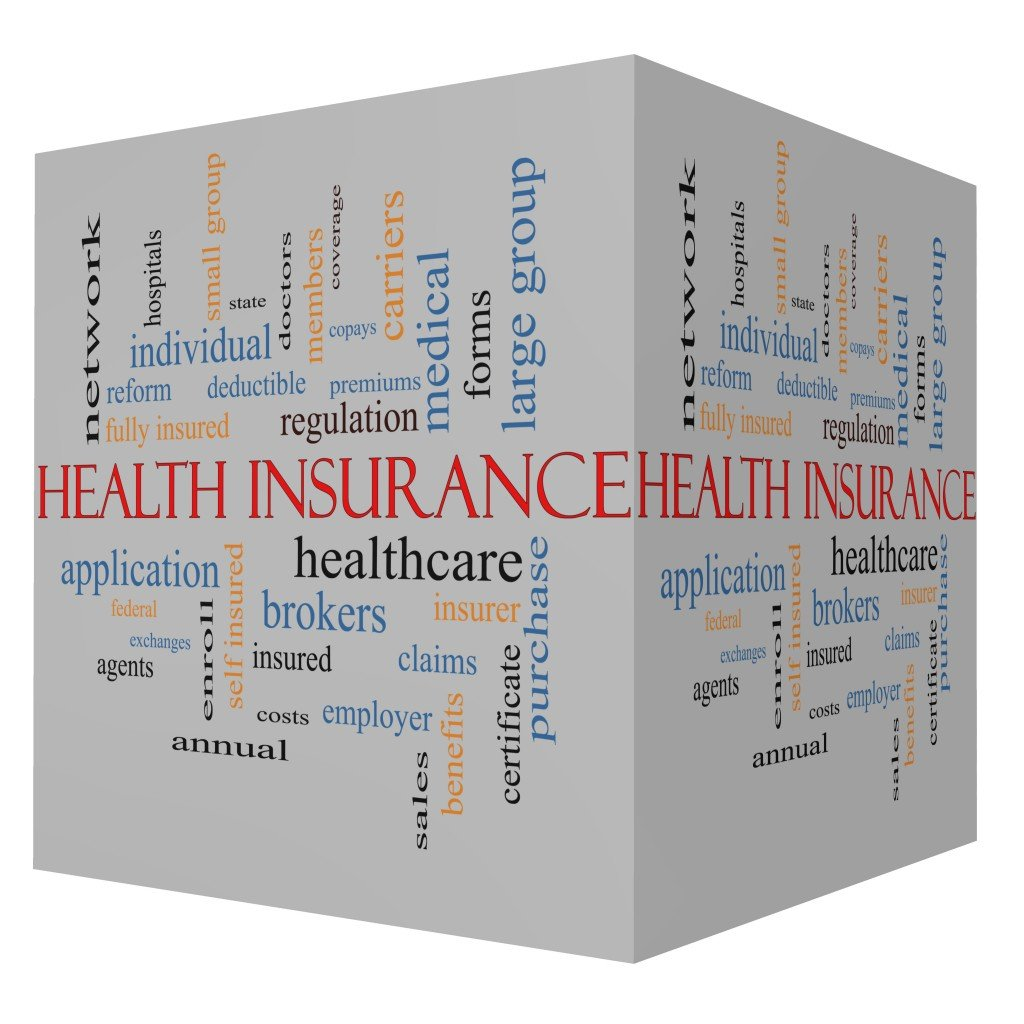 Health Insurance Word Cloud Concept on a 3D Cube