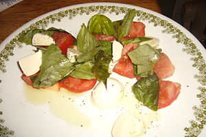 Diet healthy with tomatoes, mozzarella cheese, basil