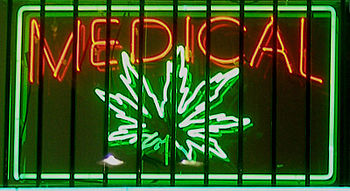 English: Medical marijuana neon sign at a dispensary