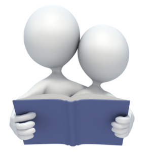 two figures reading a book together