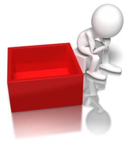 figure of person thinking outside a red box